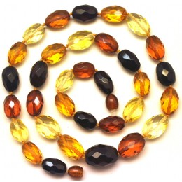 Multicolor  faceted  Baltic amber necklace