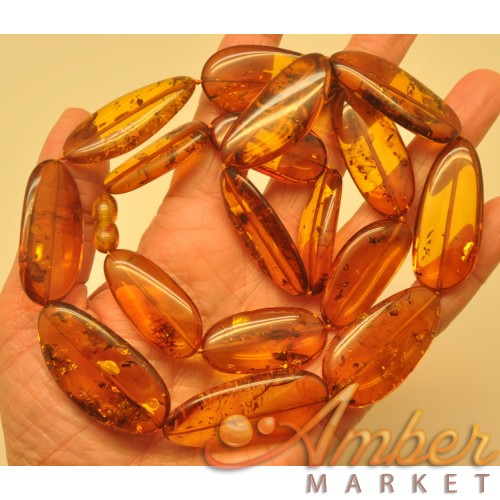 Big beads cognac Baltic amber long necklace