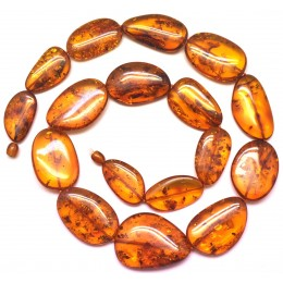 Big beads cognac amber long necklace