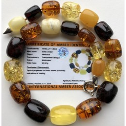 Barrel shape amber necklace 92g (Certificate included)