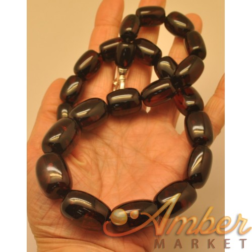 Cherry barrel shape amber  necklace