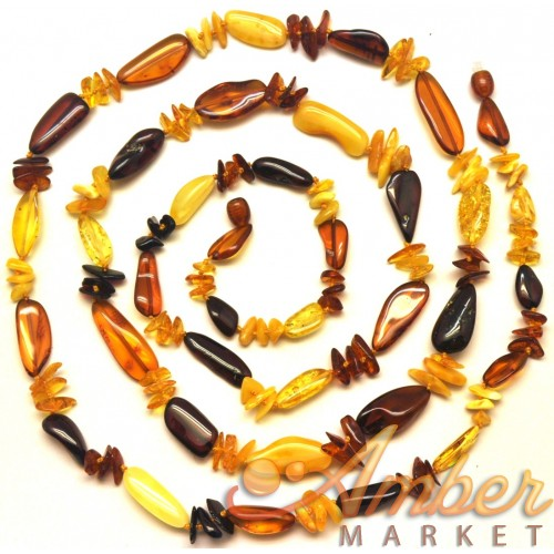 Natural shape multicolor amber long necklace