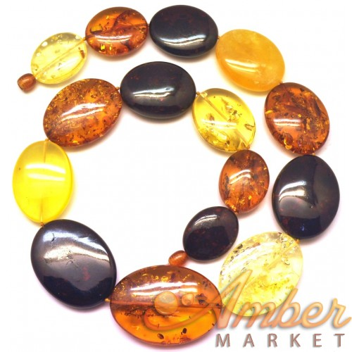Massive big beads  multicolor Baltic amber necklace