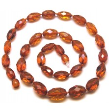 Faceted cognac amber olive necklace