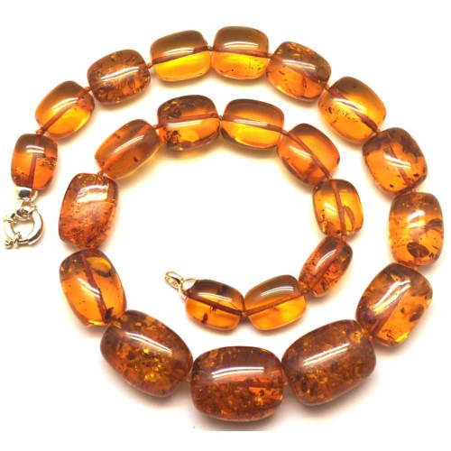 Cognac barrel shape amber necklace