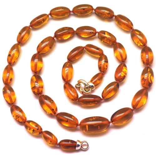 Olive shape long amber necklace