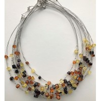 Lot of 10 faceted beads amber wire necklaces