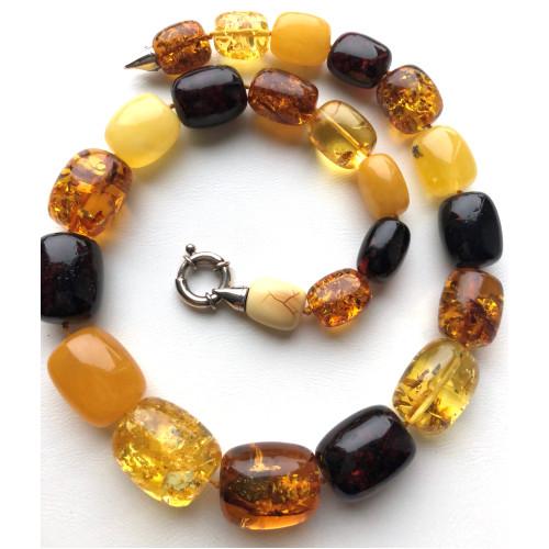 Barrel shape Baltic amber necklace 87 g.