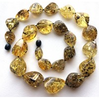 Green faceted short amber necklace