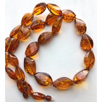 Long faceted cognac amber necklace
