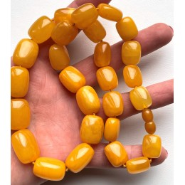 Antique Baltic amber barrel shape necklace 50 g.