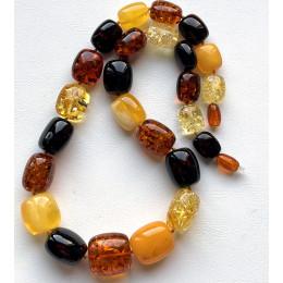 Barrel shape Baltic amber necklace 59 g.