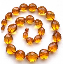 Big beads faceted amber necklace 57 g