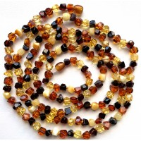 Long beaded necklace from faceted Baltic amber 130cm