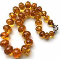Massive baroque beads Baltic amber necklace 107 g