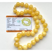 Natural AMBER NECKLACE Yellow Baroque Beads (certificate included) 65g
