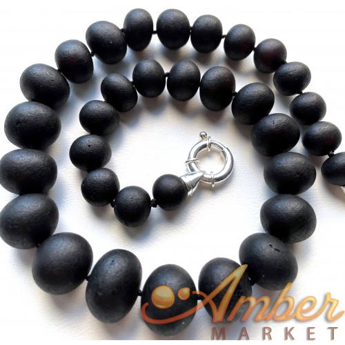 Natural Baltic Amber black unpolished baroque beads necklace