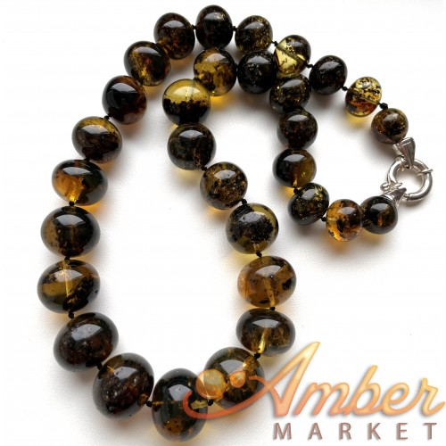 Natural Plant Amber Necklace Baroque Beads 67g
