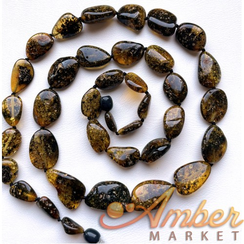 Natural shape green amber long necklace