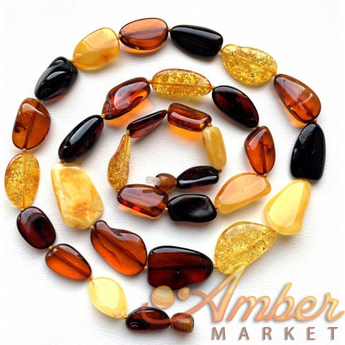 Natural shape long amber necklace