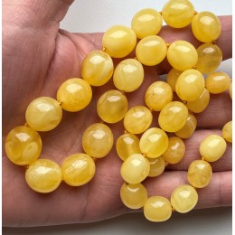 Natural Yellow Amber Olive Beads Necklace 35g