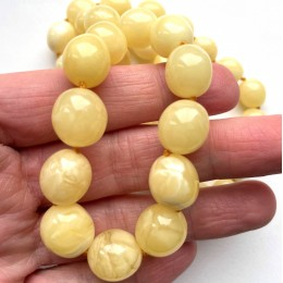 Natural Yellow - White Amber Olive shape Necklace