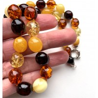 Olive Shape Beads Genuine BALTIC AMBER Necklace 36g