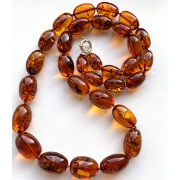 Olive Shape Beads Genuine BALTIC AMBER Necklace 70 g.