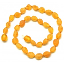 Lemon unpolished beans shape Baltic amber teething necklace