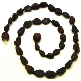 Cherry unpolished beans shape Baltic amber teething necklace