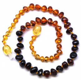 Rainbow baroque beads Baltic amber teething necklace