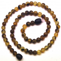 Round beads green unpolished Baltic amber teething necklace