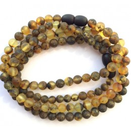 2 pcs Round beads green unpolished Baltic amber teething necklace