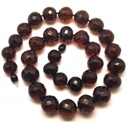 Baroque beads faceted Baltic amber necklace