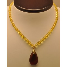 Barrel shape Baltic amber necklace with drop pendant
