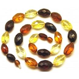 Multicolor faceted Baltic amber olive necklace