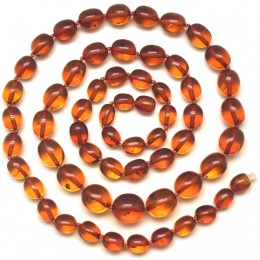 Olive shape cognac  Baltic amber long necklace