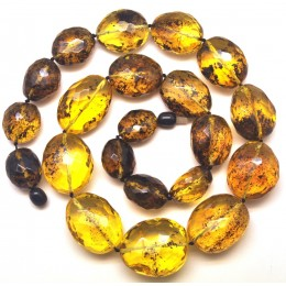 Big beads faceted Baltic amber  necklace