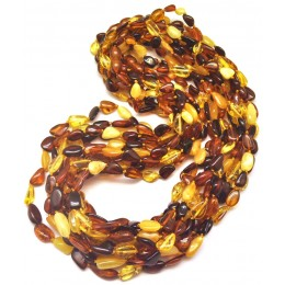 Lot of 10 multicolor Baltic amber beans necklaces