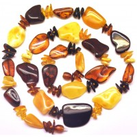 Multicolor long Baltic amber necklace