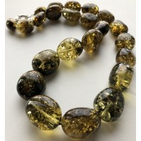 Green color amber beads necklace 110g