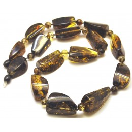 Green color amber beads necklace