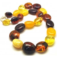 Multicolor amber beads necklace 92g