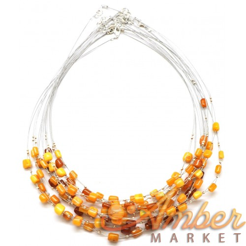 Lot of 10 Baltic amber barrel wire necklaces