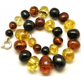 Massive multicolor baroque beads Baltic amber necklace 110 g.