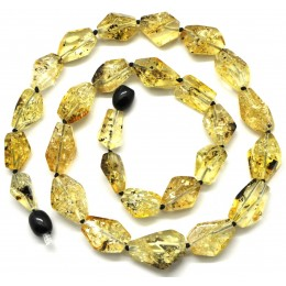 Faceted green Baltic amber necklace