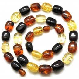 Barrel shape multicolor  Baltic amber necklace