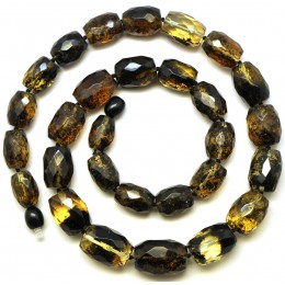 Green faceted barrel shape Baltic amber necklace