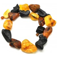 Natural shapes unpolished Baltic amber necklace 102 g .