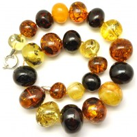 Massive multicolor baroque beads Baltic amber necklace 144 g.